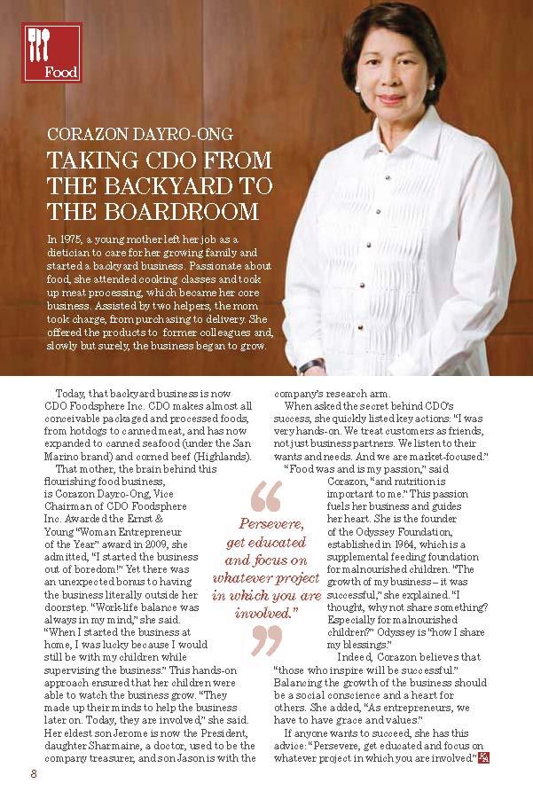 Corazon Dayro-Ong, Vice Chairman of CDO Foodsphere Inc.